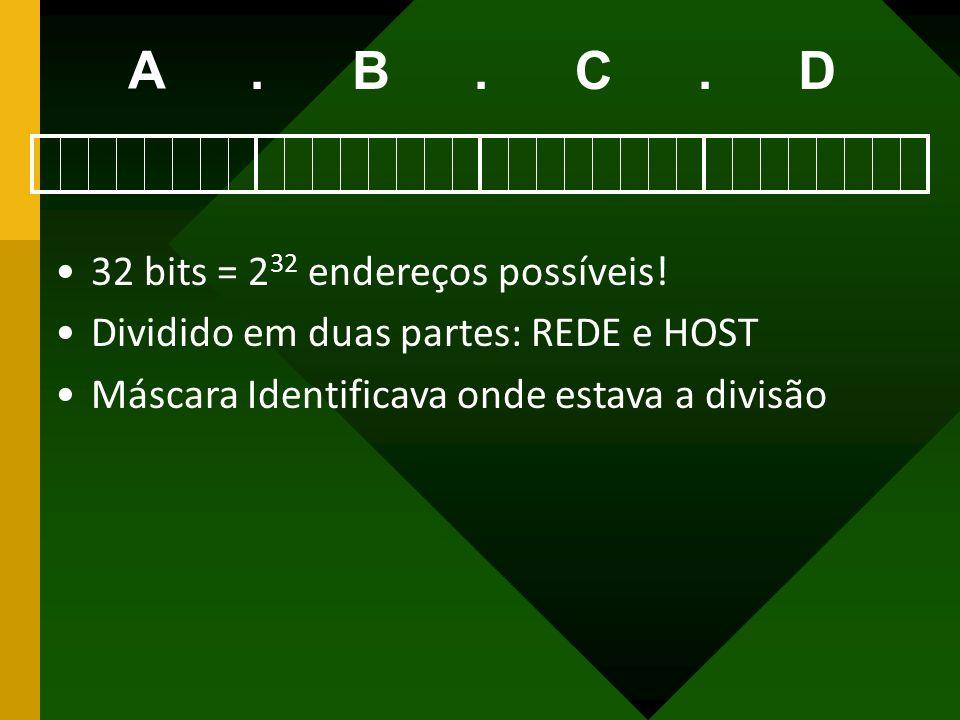 A . B . C . D 32 bits = 232 endereços possíveis!