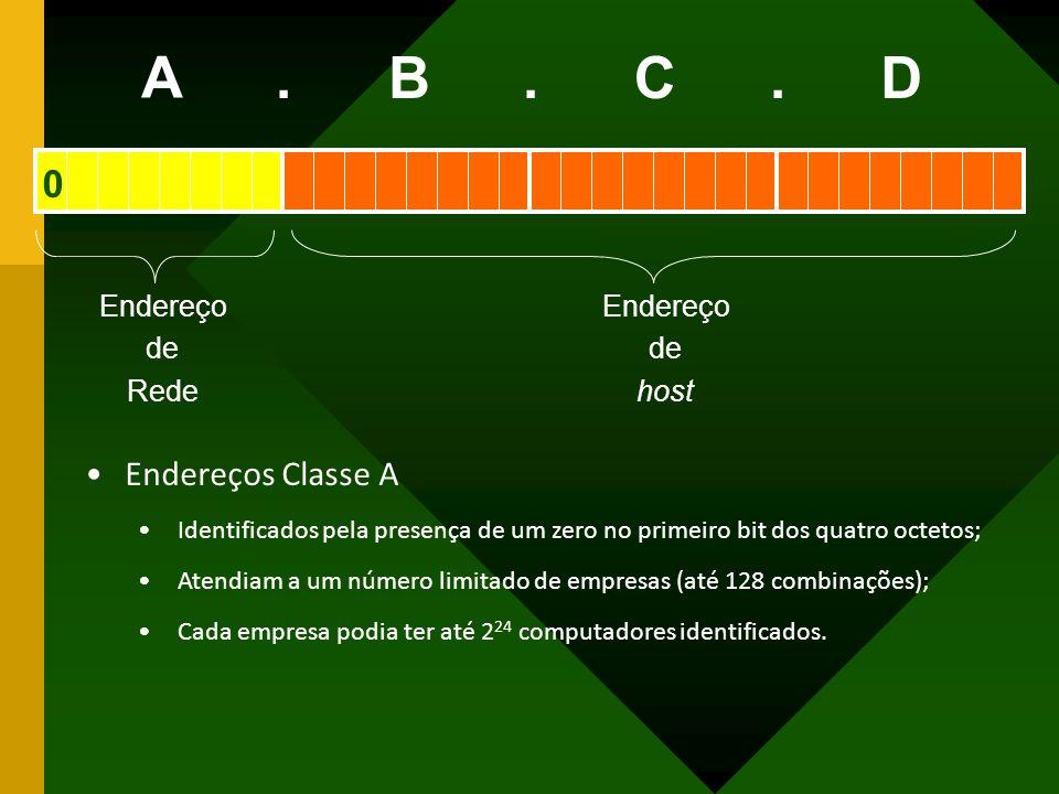 A B C D . Endereços Classe A Endereço de Rede host