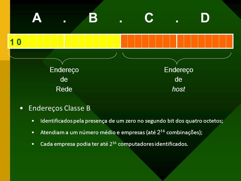 A B C D . 1 Endereços Classe B Endereço de Rede host