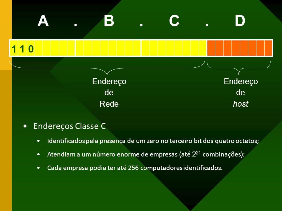 A B C D . 1 1 Endereços Classe C Endereço de Rede host