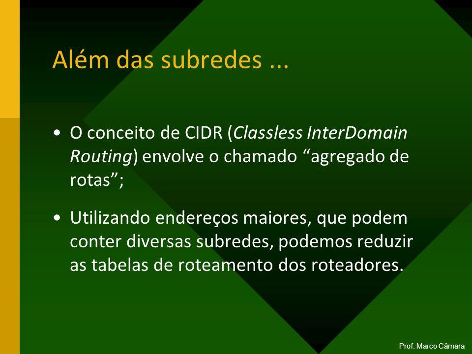 Além das subredes ... O conceito de CIDR (Classless InterDomain Routing) envolve o chamado agregado de rotas ;