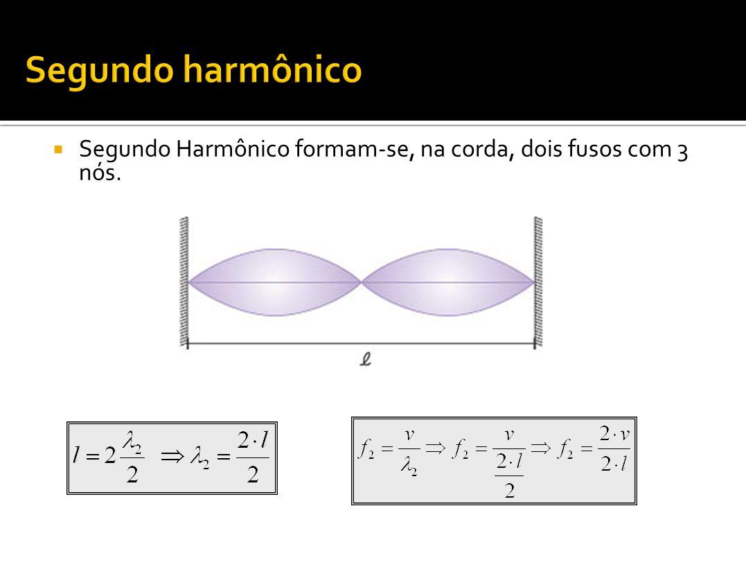 Segundo harmônico Segundo Harmônico formam-se, na corda, dois fusos com 3 nós.