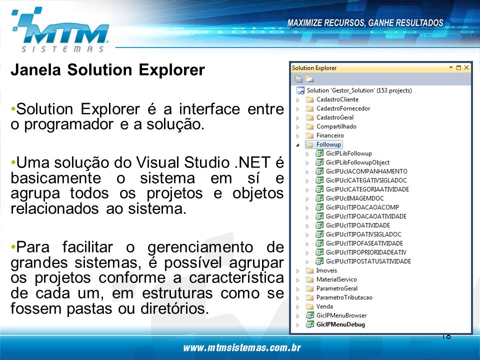 Janela Solution Explorer