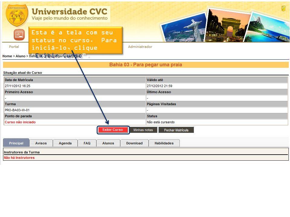 Esta é a tela com seu status no curso