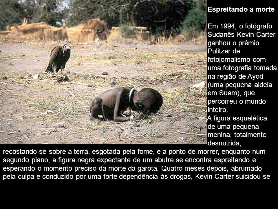 Espreitando a morte Em 1994, o fotógrafo. Sudanês Kevin Carter. ganhou o prêmio. Pulitzer de. fotojornalismo com.