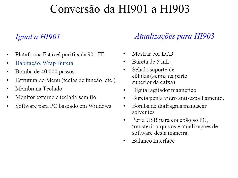 Conversão da HI901 a HI903 Igual a HI901 Atualizações para HI903