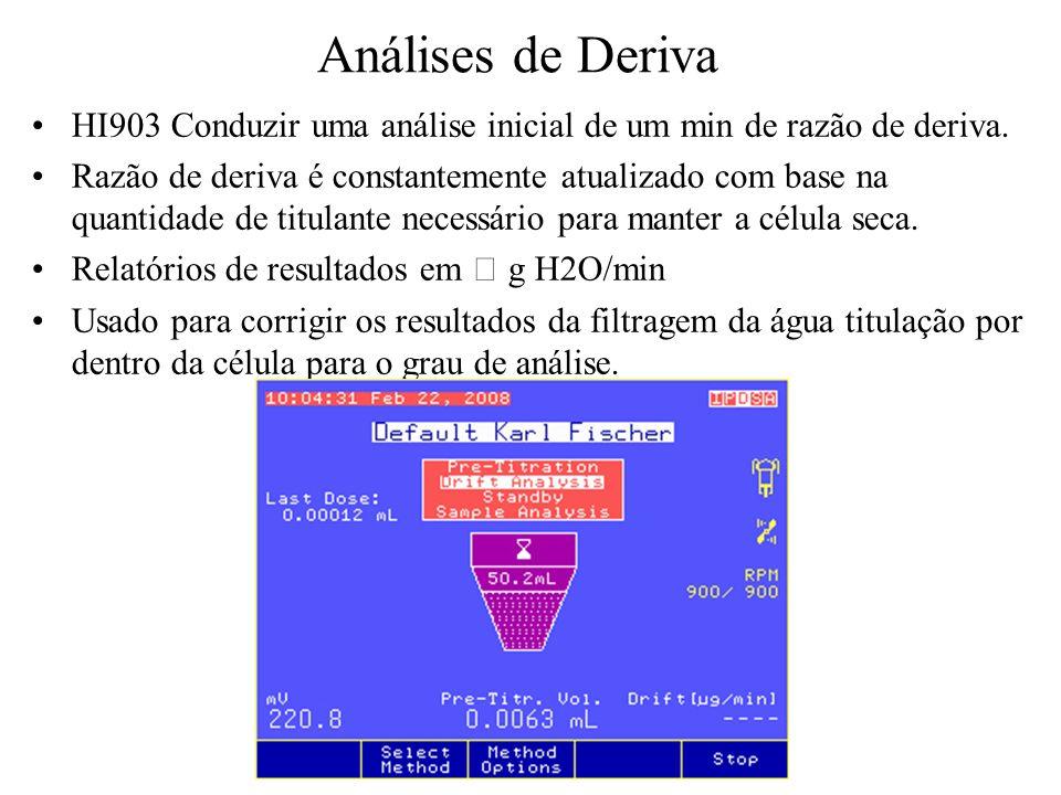 Análises de Deriva HI903 Conduzir uma análise inicial de um min de razão de deriva.