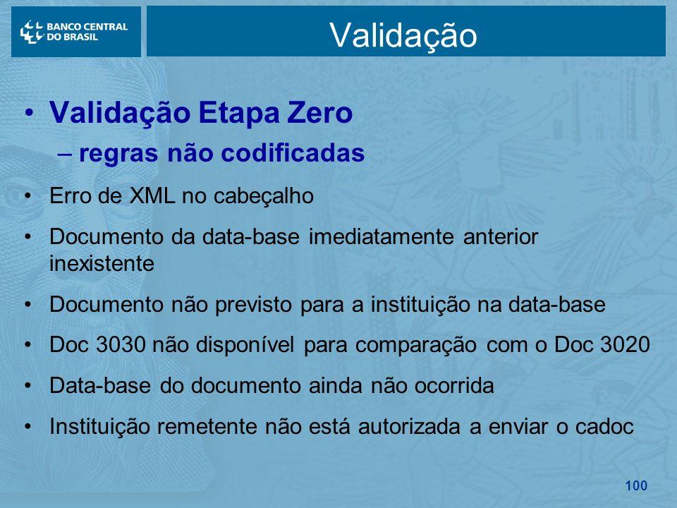 Validação Validação Etapa Zero regras não codificadas