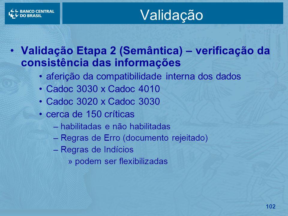 Validação Validação Etapa 2 (Semântica) – verificação da consistência das informações. aferição da compatibilidade interna dos dados.