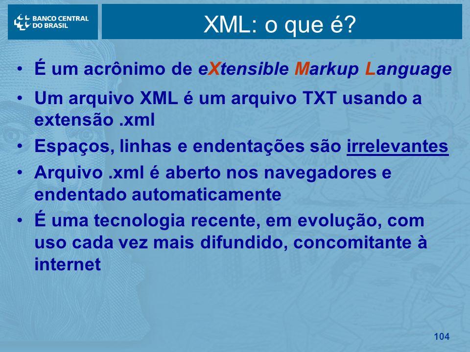 XML: o que é É um acrônimo de eXtensible Markup Language