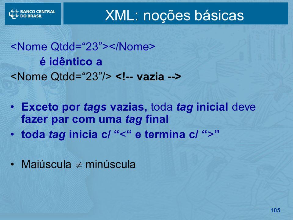 XML: noções básicas <Nome Qtdd= 23 ></Nome> é idêntico a