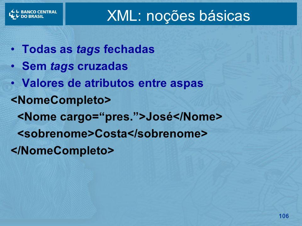 XML: noções básicas Todas as tags fechadas Sem tags cruzadas