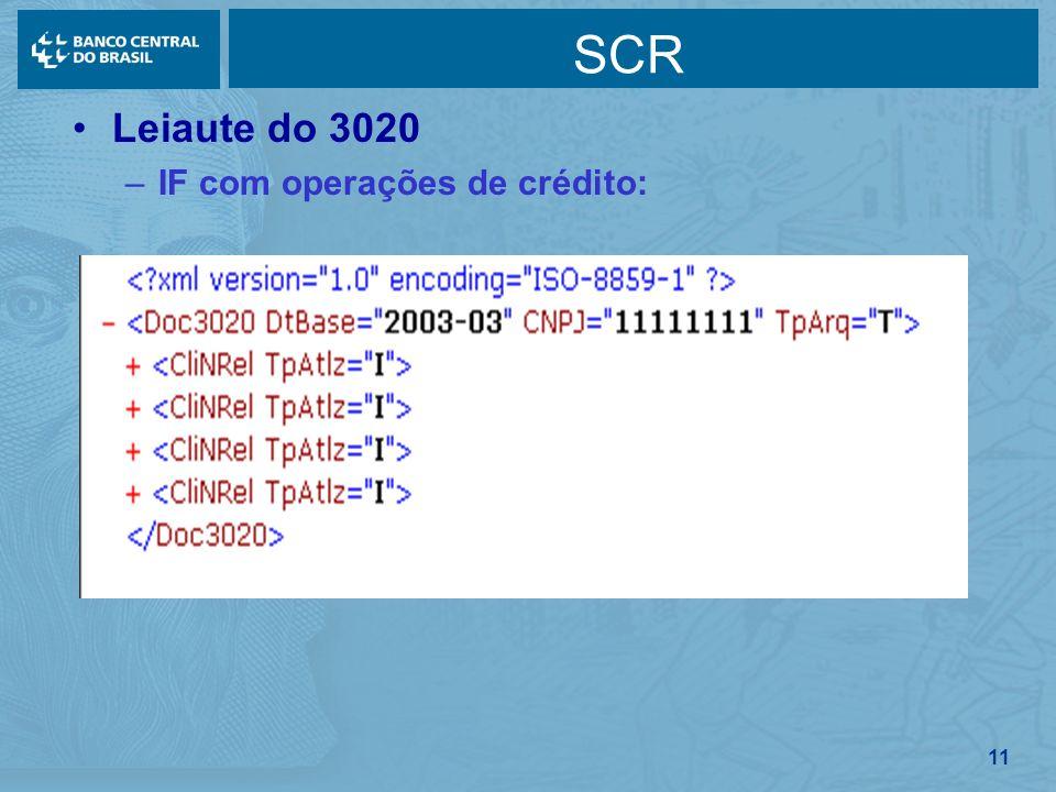 SCR Leiaute do 3020 IF com operações de crédito: