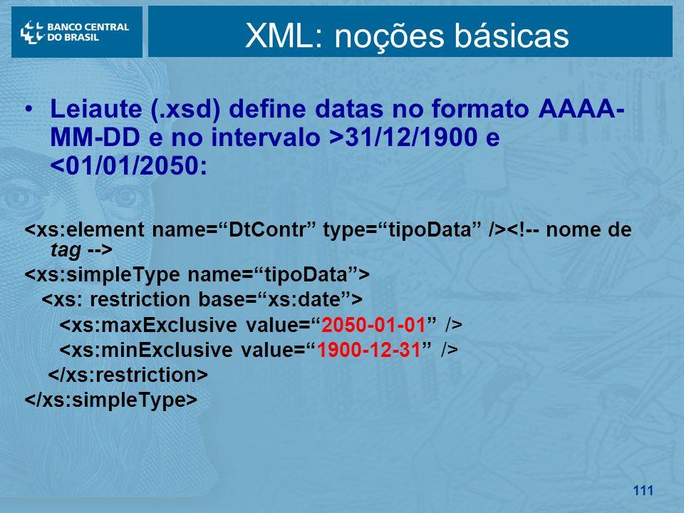 XML: noções básicas Leiaute (.xsd) define datas no formato AAAA-MM-DD e no intervalo >31/12/1900 e <01/01/2050: