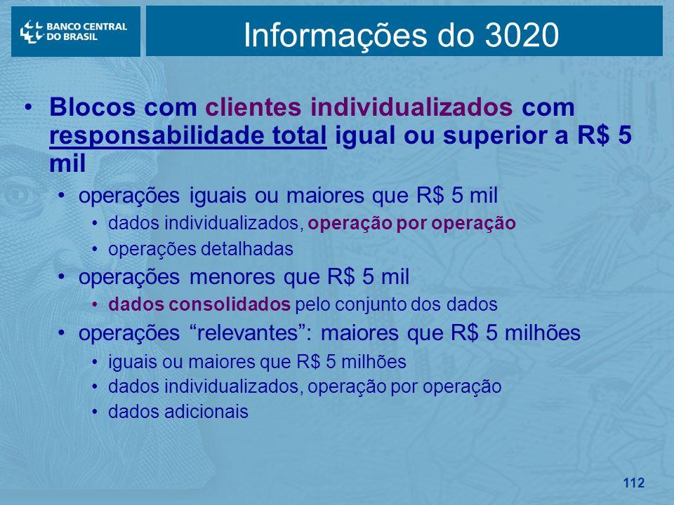 Informações do 3020 Blocos com clientes individualizados com responsabilidade total igual ou superior a R$ 5 mil.