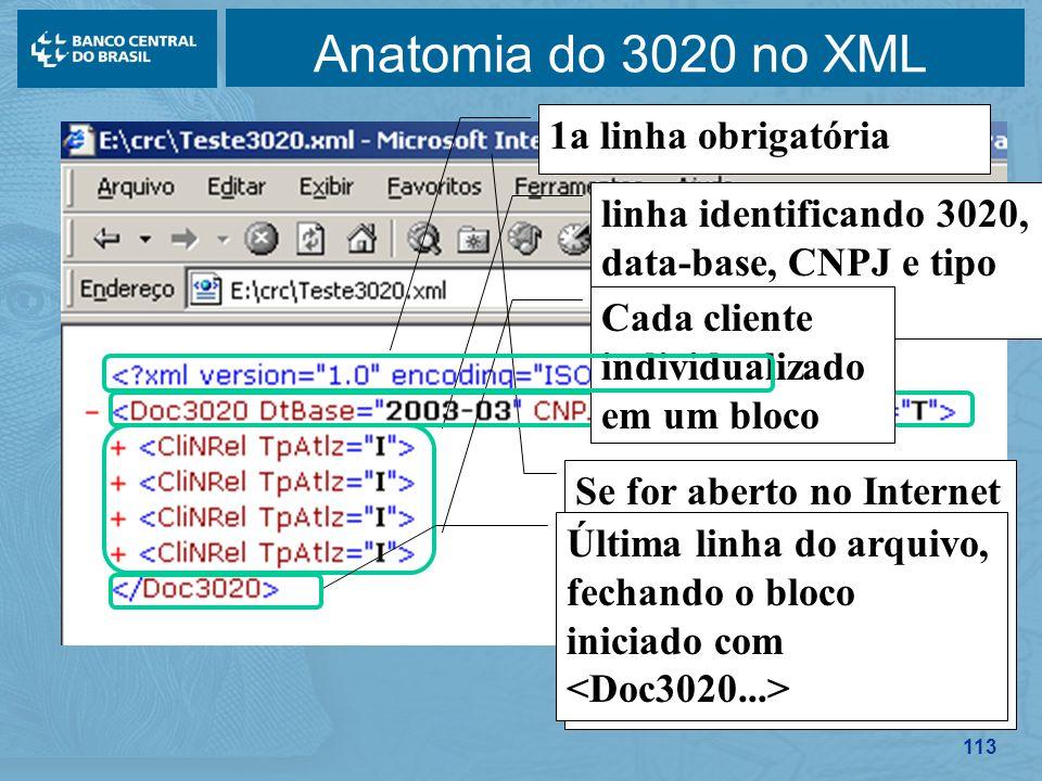 Anatomia do 3020 no XML 1a linha obrigatória