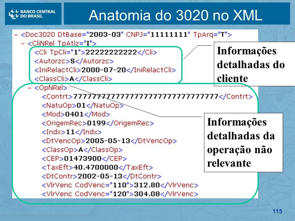 Anatomia do 3020 no XML Informações detalhadas do cliente