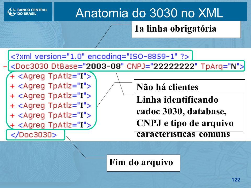 Anatomia do 3030 no XML 1a linha obrigatória