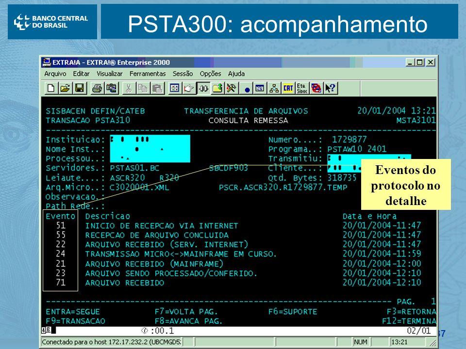 Eventos do protocolo no detalhe