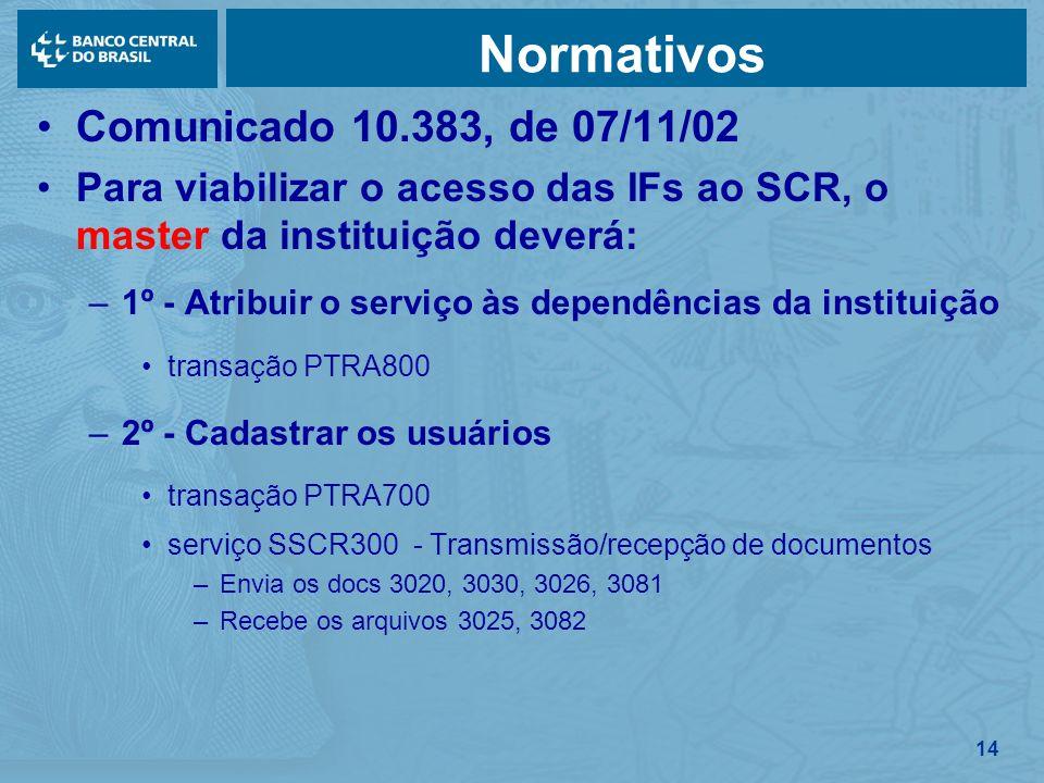 Normativos Comunicado 10.383, de 07/11/02