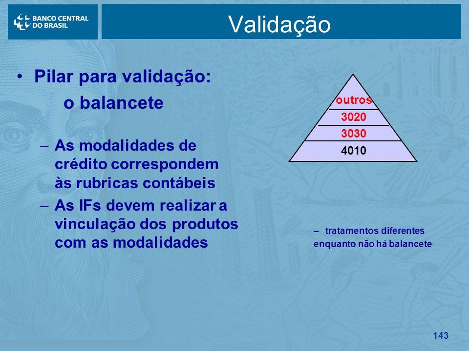 Validação Pilar para validação: o balancete