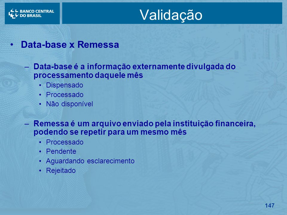 Validação Data-base x Remessa