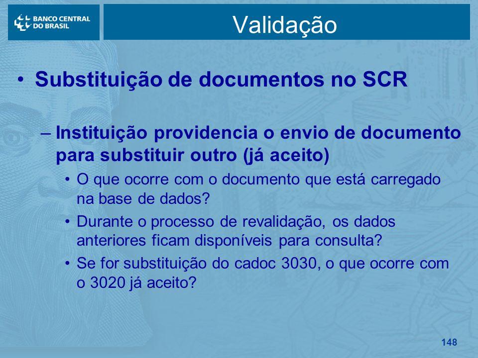 Validação Substituição de documentos no SCR