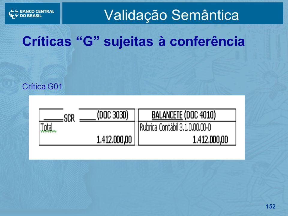 Validação Semântica Críticas G sujeitas à conferência Crítica G01