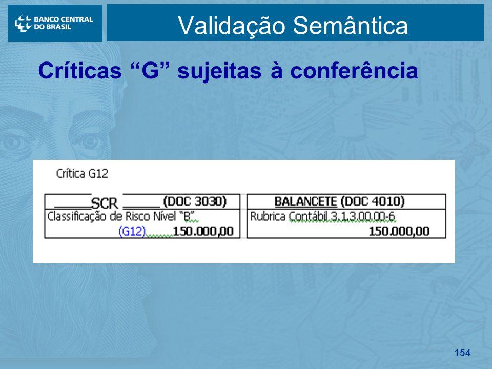 Validação Semântica Críticas G sujeitas à conferência