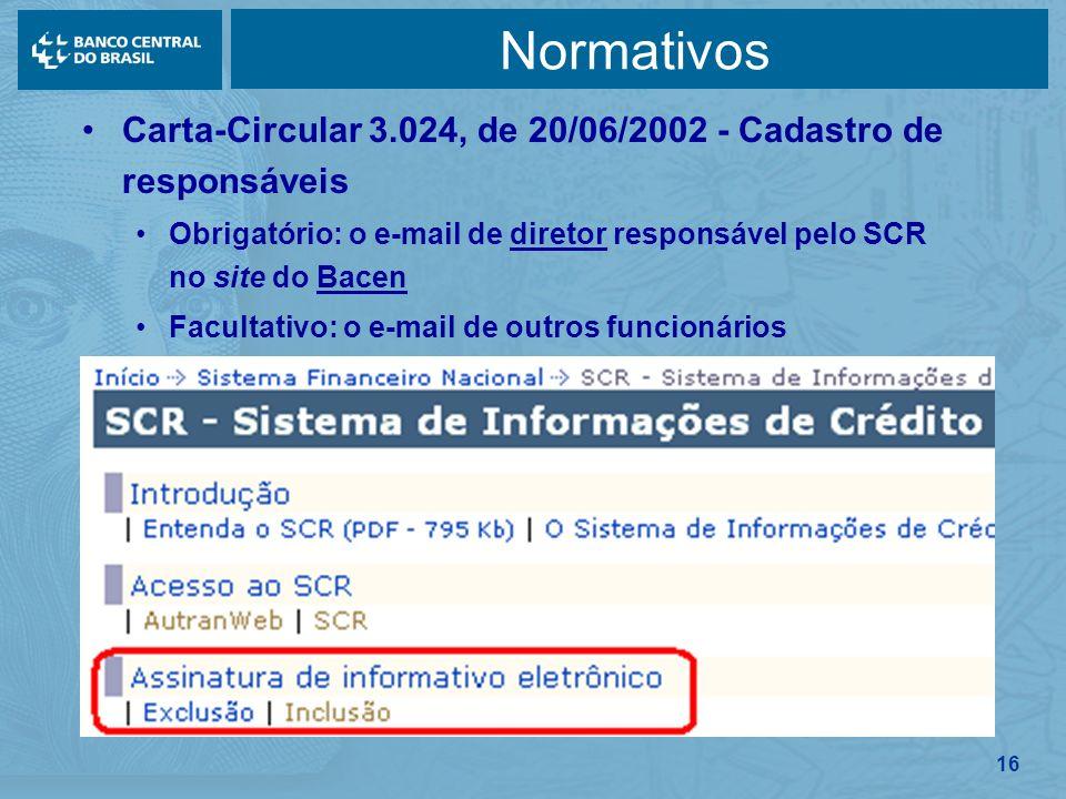 Normativos Carta-Circular 3.024, de 20/06/2002 - Cadastro de responsáveis. Obrigatório: o e-mail de diretor responsável pelo SCR no site do Bacen.