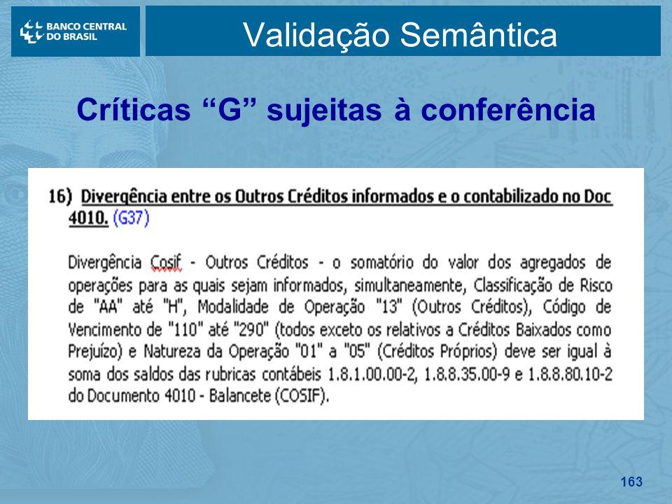 Críticas G sujeitas à conferência