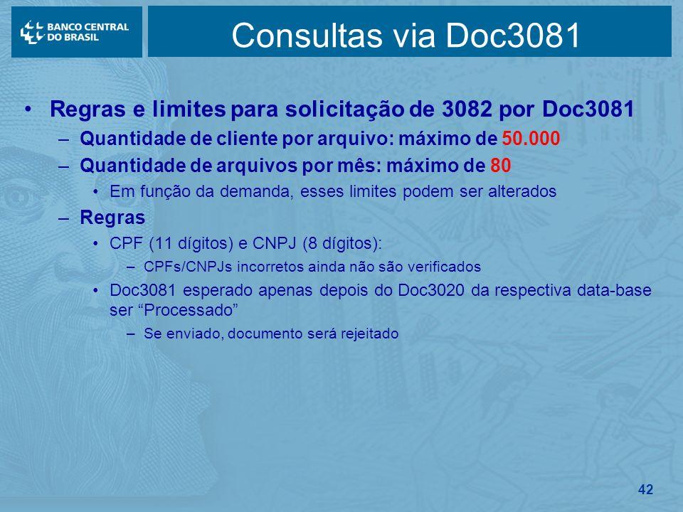 Consultas via Doc3081 Regras e limites para solicitação de 3082 por Doc3081. Quantidade de cliente por arquivo: máximo de 50.000.