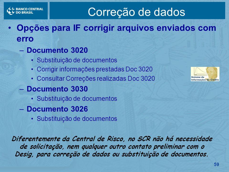Correção de dados Opções para IF corrigir arquivos enviados com erro