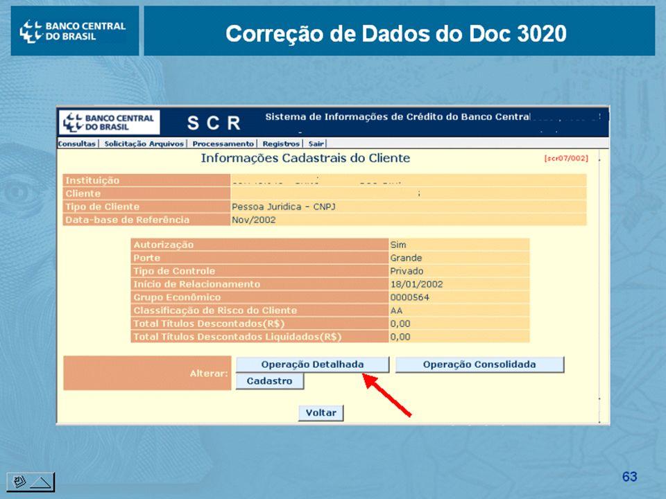 Correção de Dados do Doc 3020