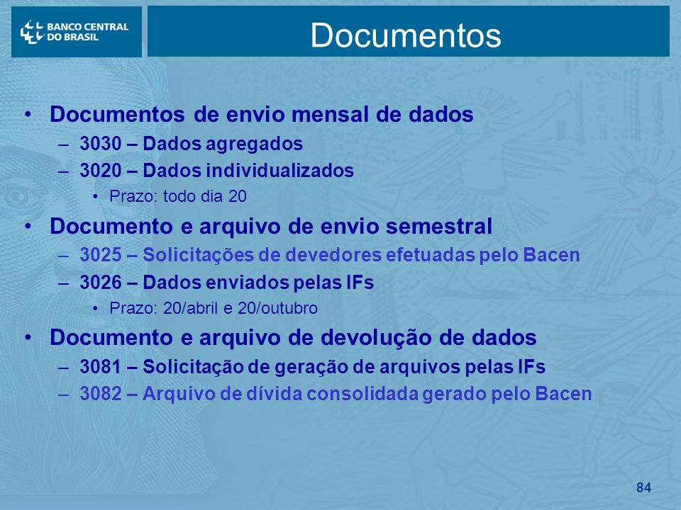 Documentos Documentos de envio mensal de dados