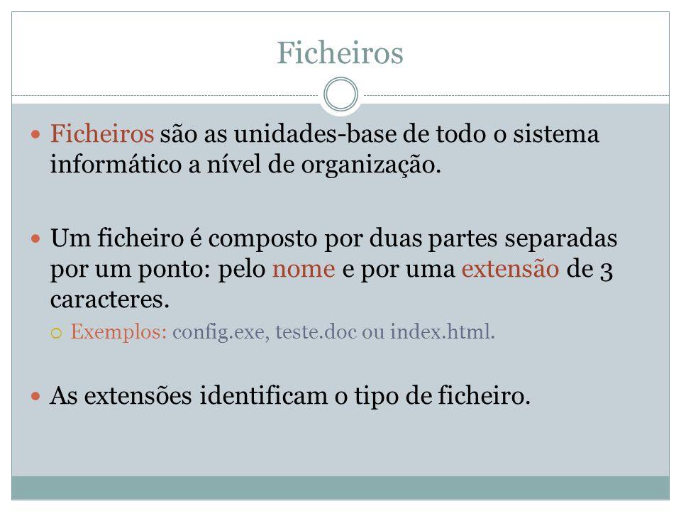 Ficheiros Ficheiros são as unidades-base de todo o sistema informático a nível de organização.