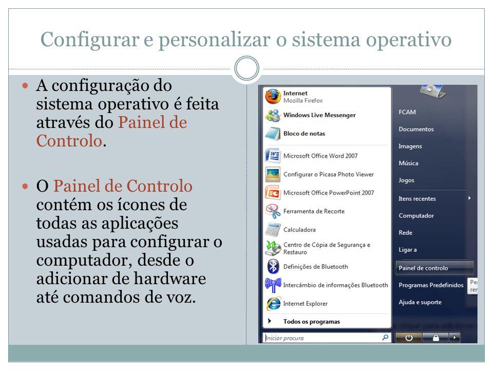 Configurar e personalizar o sistema operativo