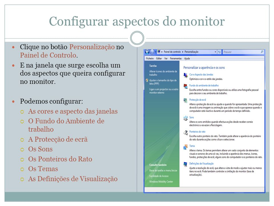 Configurar aspectos do monitor