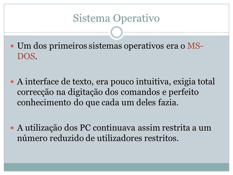Sistema Operativo Um dos primeiros sistemas operativos era o MS-DOS.