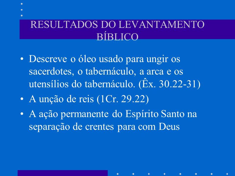 RESULTADOS DO LEVANTAMENTO BÍBLICO