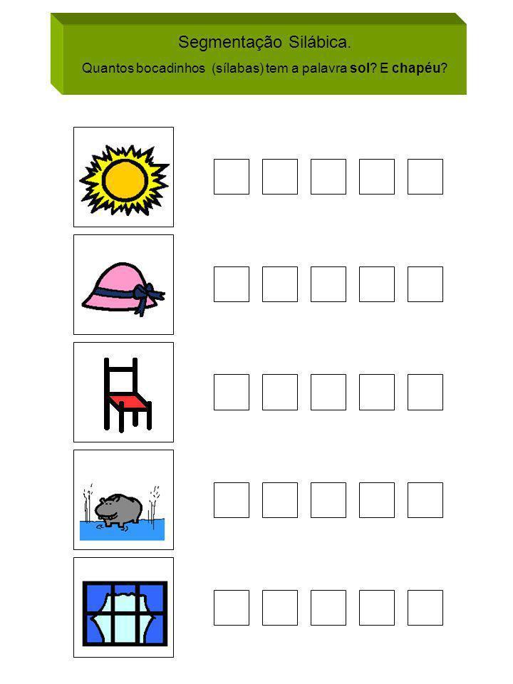 Quantos bocadinhos (sílabas) tem a palavra sol E chapéu