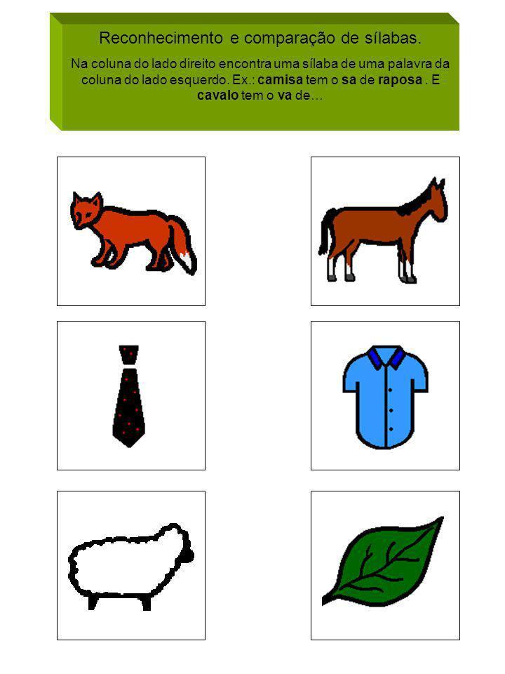 Reconhecimento e comparação de sílabas.
