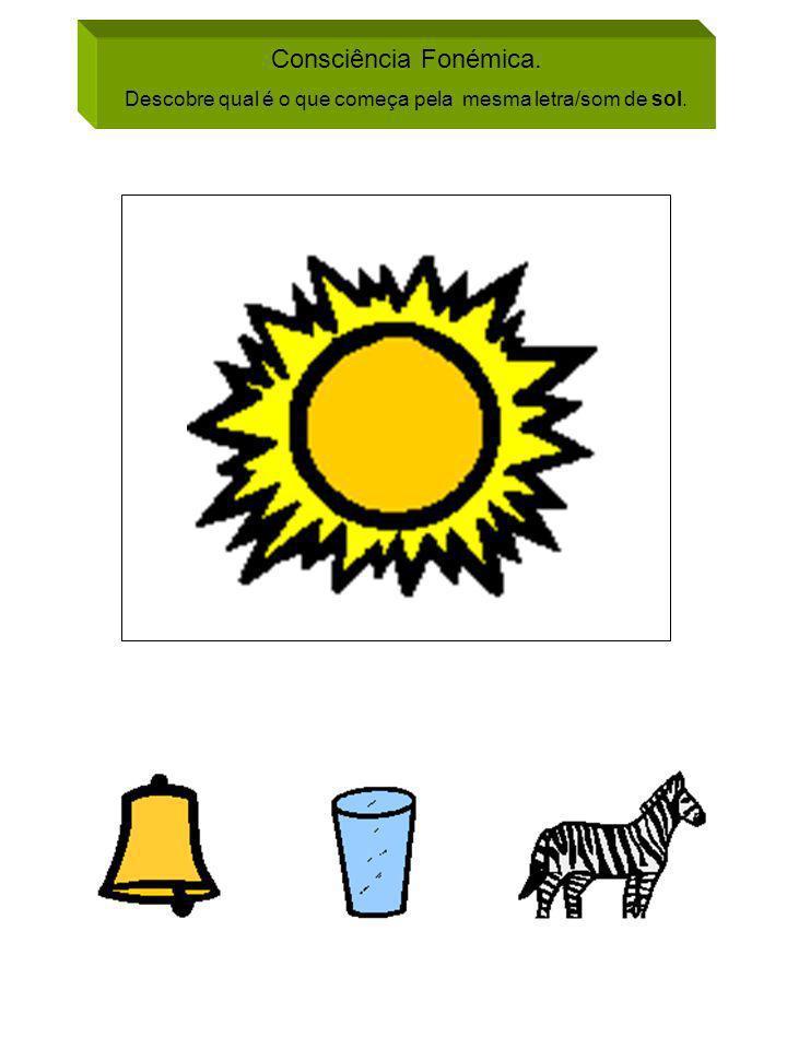 Descobre qual é o que começa pela mesma letra/som de sol.