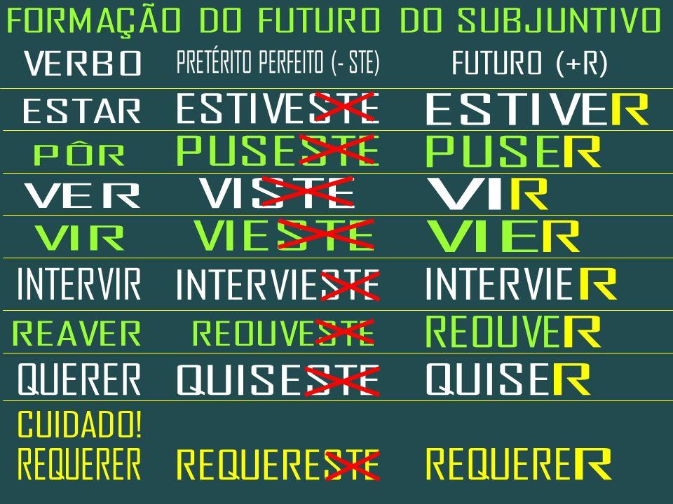 FORMAÇÃO DO FUTURO DO SUBJUNTIVO PRETÉRITO PERFEITO (- STE) VERBO