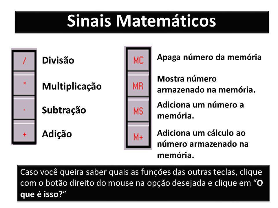 Sinais Matemáticos Divisão Multiplicação Subtração Adição