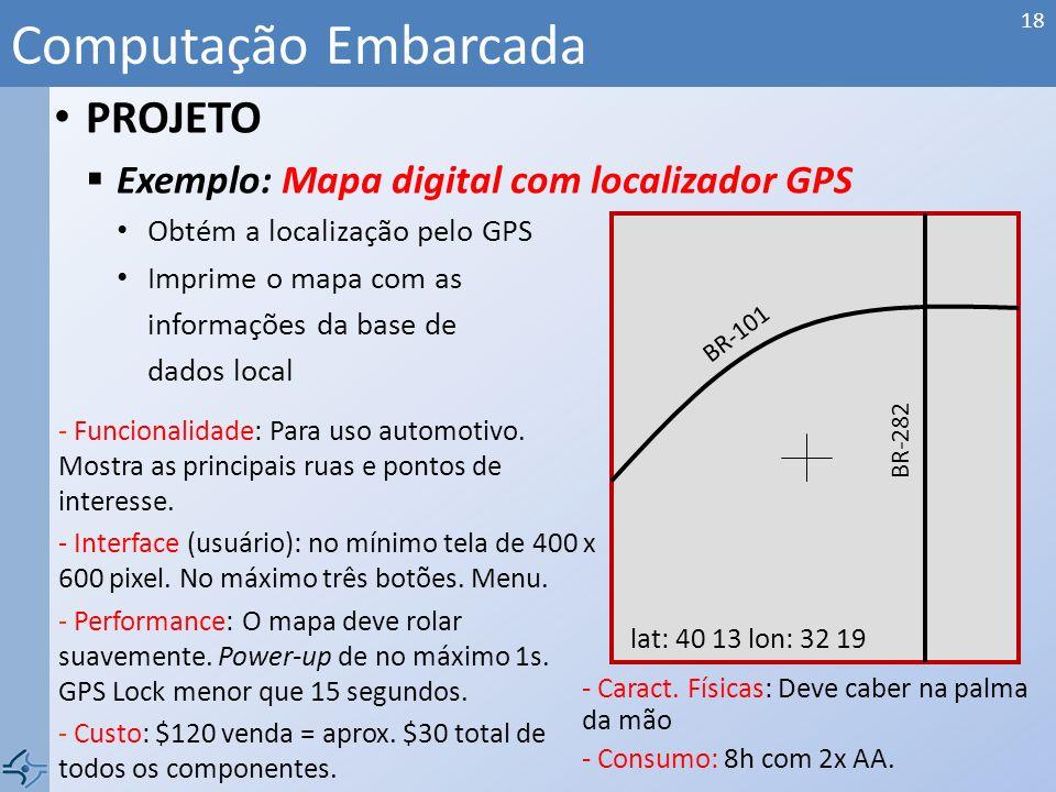 Computação Embarcada PROJETO Exemplo: Mapa digital com localizador GPS