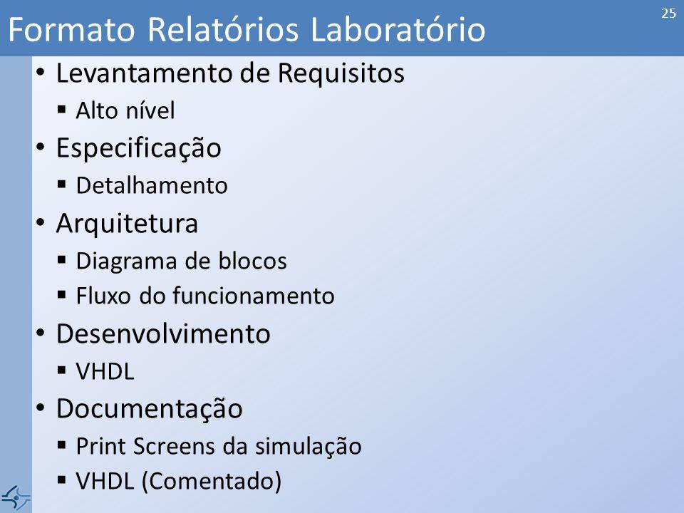 Formato Relatórios Laboratório