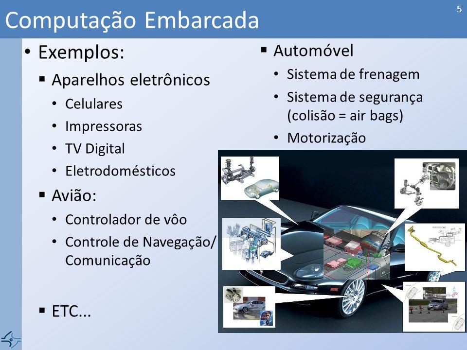 Computação Embarcada Exemplos: Automóvel Aparelhos eletrônicos Avião: