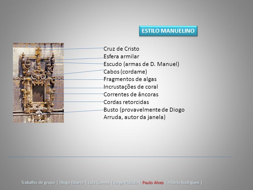 Escudo (armas de D. Manuel) Cabos (cordame) Fragmentos de algas