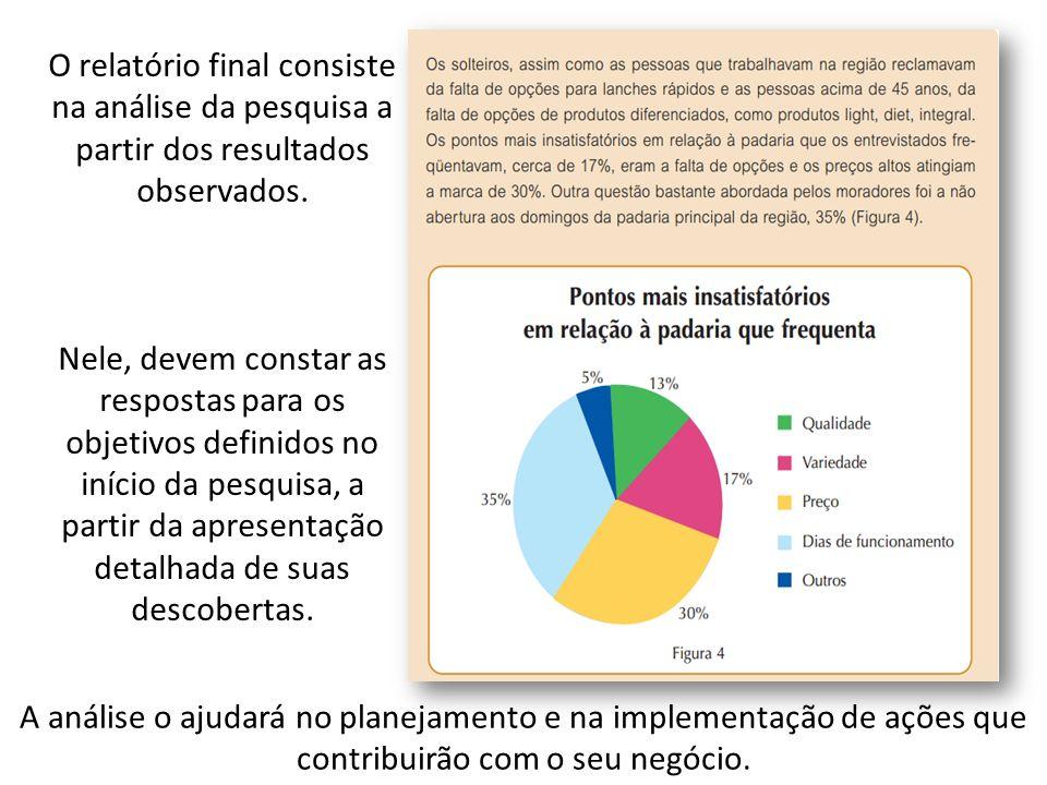 O relatório final consiste na análise da pesquisa a partir dos resultados observados.